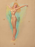 Pin-up and Glamour Art, EARL MAC PHERSON (American, 1910-1993). Pin Up with Netting.Pastel on board. 24.75 x 19 in.. Not signed. ...