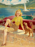 Pin-up and Glamour Art, FREDERIC KIMBALL MIZEN (American, 1888-1964). Pin-Up withPuppy. Oil on canvas. 32.75 x 24.5 in.. Signed lower right. ...