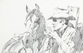 Mainstream Illustration, AMERICAN ARTIST (20th Century). Marlboro Man, adillustration. Graphite on board. 12.5 x 19.25 in.. Signed lowerleft. ...