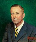 Mainstream Illustration, NORMAN ROCKWELL (American, 1894-1978). Portrait of R. E.Roberson, 1971. Oil on canvasboard. 22.5 x 19 in.. Signedlower...