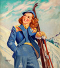 Pin-up and Glamour Art, ELLEN BARBARA SEGNER (American, d. 2001). On the Slopes. Oilon canvas. 32 x 28 in.. Signed lower left. ...
