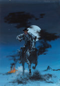 Pulp, Pulp-like, Digests, and Paperback Art, ROBERT MCGINNIS (American, 1926-). Marauder's Moon, paperbackcover, 1959. Gouache on board. 16.25 x 12.25 in.. Signed l...
