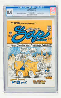 Zap Comix #1 Plymell Edition, Light Blue Variant (Apex Novelties, 1967) CGC VF 8.0, Off-white pages