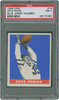 Football Cards:Singles (Pre-1950), 1948 Leaf Pete Pihos #16 PSA NM 7 - Blue Jersey NumberVariation....