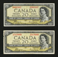 Canadian Currency: , BC-33a $20 Devil's Face Portrait 1954 Two Examples. ... (Total: 2notes)