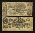 Confederate Notes:1862 Issues, 1862 $2 and $1.. ... (Total: 2 notes)