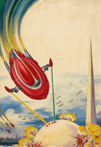 FRANK R. PAUL (American, 1884-1963) Science Fiction, pulp cover, June 1939 Oil on canvas 23.5 x 1