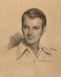 Mainstream Illustration, GIL ELVGREN (American, 1914-1980). Portrait, 1973. Charcoalon paper. 20.25 x 16 in.. Signed lower right. ...