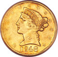 Liberty Half Eagles, 1848-D $5 AU50 PCGS....