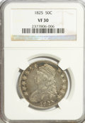 Bust Half Dollars: , 1825 50C VF30 NGC. NGC Census: (20/831). PCGS Population (25/936).Mintage: 2,900,000. Numismedia Wsl. Price for problem fr...