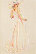 Pin-up and Glamour Art, GEORGE PETTY (American, 1894-1975). Bridesmaid, Old GoldCigarettes ad study, c. 1937. Watercolor on paper laid onboard...