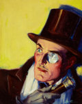 Mainstream Illustration, EDWARD DALTRON STEVENS (American, 20th Century). Man withMonocle, pulp cover, circa 1930s. Oil on board. 13.5 x 10.5in...