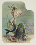 Mainstream Illustration, REN WICKS (American, 1911-1998). Mermaid with Calendar.Mixed media on paper. 14.5 x 11 in.. Not signed. ... (Total: 2Items)