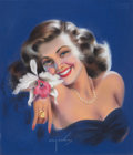 Pin-up and Glamour Art, BILLY DE VORSS (American, 1908-1985). Woman with WristCorsage. Pastel on board. 17.75 x 15 in.. Signed lower center....