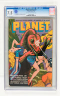 Golden Age (1938-1955):Science Fiction, Planet Comics #37 (Fiction House, 1945) CGC VF- 7.5 Light tan tooff-white pages....
