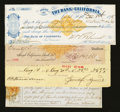 Miscellaneous:Other, Four Old West Checks Very Fine or Better.. ... (Total: 4 notes)