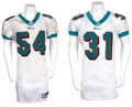 Football Collectibles:Uniforms, 2001-02 Brock Marion and Zach Thomas Game Worn Jerseys -Unwashed w/ Multiple Team Repairs!...