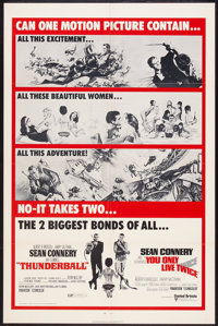 """Thunderball/You Only Live Twice Combo (United Artists, R-1970). One Sheet (27"""" X 41""""). James Bond"""
