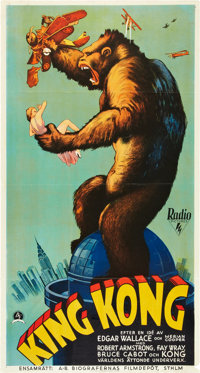 "King Kong (RKO, 1933). Swedish Oversized (25.5"" X 47"")"