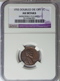 Lincoln Cents, 1955 1C Doubled Die Obverse--Improperly Cleaned--NGC. AUDetails....