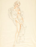Pin-up and Glamour Art, ALBERTO VARGAS (American, 1896-1982). Standing Nude, preliminarystudy. Mixed media on vellum. 23.5 x 18.5 in.. Signed l...