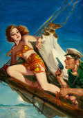 Pulp, Pulp-like, Digests, and Paperback Art, HARRY LEMON PARKHURST (American, 1876-1962). Spicy Adventure,pulp cover, October 1941. Oil on canvas. 29.75 x 20.75 in....