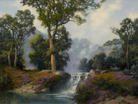 A. D. GREER (American, 1904-1998) Big Spring Falls, 1991 Oil on canvas 36 x 48 inches (91.4 x 121