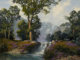 A. D. GREER (American, 1904-1998) Big Spring Falls, 1991 Oil on canvas 36 x 48 inches (91.4 x 121.9 cm) Signed and d