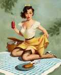 Pin-up and Glamour Art, HARRY EKMAN (American, 1923-1999). Mishap at the Picnic. Oilon canvas. 29.5 x 23.5 in.. Signed lower right. ...