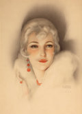 Pin-up and Glamour Art, ALBERTO VARGAS (American, 1896-1982). Flapper with White Mink,Red Bead Earrings & Necklace, 1928. Watercolor on paper....