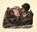 Mainstream Illustration, FRED LUDEKENS (American, 1900-1982). Two Soldiers, 1944. Oilon board. 14 x 16 in.. Signed lower right. ...