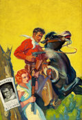 Pulp, Pulp-like, Digests, and Paperback Art, WALTER MARTIN BAUMHOFER (American, 1904-1987). Dime WesternMagazine, April 1934. Oil on canvas. 34.75 x 23.75 in.. Not ...