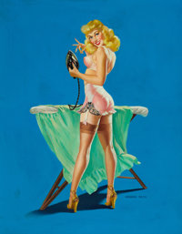 VAUGHAN ALDEN BASS (American, 20th Century) Iron Girl Oil on canvas 27.5 x 21.5 in. Signed low