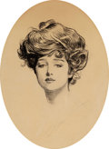 Mainstream Illustration, CHARLES DANA GIBSON (American, 1867-1944). The Gibson Girl.Pen and ink on paper. 12.5 x 9.5 in.. Signed lower center. ...