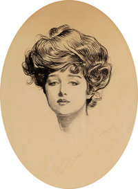 CHARLES DANA GIBSON (American, 1867-1944) The Gibson Girl Pen and ink on paper 12.5 x 9.5 in