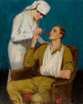 Mainstream Illustration, CLARENCE F. UNDERWOOD (American, 1871-1929). Nurse Lighting aPipe. Oil on canvas. 39 x 32 in.. Signed lower left. ...