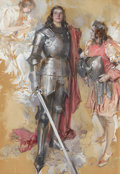 Paintings, HOWARD CHANDLER CHRISTY (American, 1872-1952). The Young Knight, 1911. Charcoal and gouache on board. 37 x 25.5 in.. Sig...