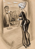 Pin-up and Glamour Art, BILL WARD (American, 1919-1998). Men's magazine cartoonillustration, 1963. Mixed media on paper. 23 x 15.5 in.. Signed...
