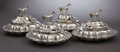 Silver Holloware, British:Holloware, FOUR WILLIAM IV SILVER AND SILVER PLATE COVERED ENTRÉE SERVINGDISHES. Benjamin Smith, London, England, 1834-32. ... (Total: 8Items)