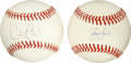 Autographs:Baseballs, David Justice and Cecil Fielder Single Signed Baseballs Lot of 2.Two of the hottest bats of the early 1990s each provide a...