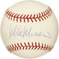 "Autographs:Baseballs, Mike Mussina Single Signed Baseball. Mike ""Moose"" Mussina added hissignature to this OML pristine baseball. The stalwart o..."