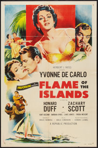 "Flame of the Islands (Republic, 1956). One Sheet (27"" X 41""). Drama"