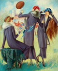 Paintings, GENE PRESSLER (American, b. 1893). Ladies at a Football Game. Oil on board. 21.5 x 17.75 in.. Not signed. ...