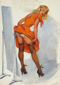Pin-up and Glamour Art, JOYCE BALLANTYNE (American, 1918-2006). Straightening theSeams. Gouache on board. 19.25 x 13.5 in.. Signed in pencillo...