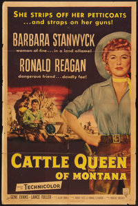 """Cattle Queen of Montana (RKO, 1954). One Sheet (27"""" X 41"""") Style A. Western"""