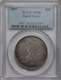 Bust Half Dollars, 1807 50C Capped Bust, Small Stars VF30 PCGS....