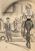 "Pin-up and Glamour Art, BILL WARD (American, 1919-1998). ""I thought I would take her fora ride."", men's magazine cartoon illustration, Septembe..."