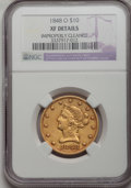 Liberty Eagles, 1848-O $10 --Improperly Cleaned--NGC. XF Details....