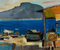 Impressionism & Modernism, RENÉ GENIS (French, 1922-2004). Barques à Mondello(Palerme). Oil on canvas. 18 x 21-1/2 inches (45.7 x 54.6 cm).Signed...