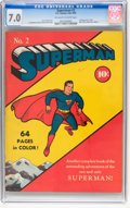 Golden Age (1938-1955):Superhero, Superman #2 (DC, 1939) CGC FN/VF 7.0 Off-white to white pages....